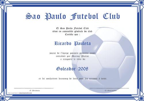 Diplome de football : meilleur buteur, meilleur joueur, meilleur