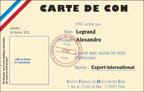 Lauthentique Carte De Con DAlexandre Legrand